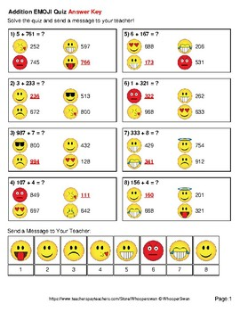 Addition Emoji Quiz (3-Digit + 1-Digit)