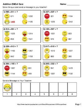 Addition Emoji Quiz (3-Digit + 3-Digit)