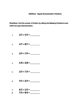Addition-Equal denominator Fraction