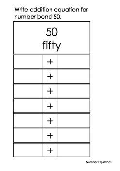 Addition Equation 10 to 100