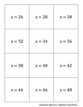 Equation Memory: Addition Equations