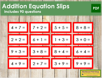 Addition Equation Slips - color coded