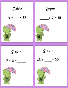 Addition Equation Task Cards ~ Common Core