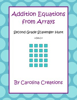 Addition Equations From Arrays Scavenger Hunt - Second Grade 2.OA.C.4