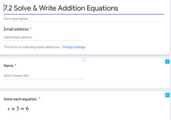Addition Equations Google Forms