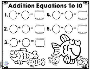 Addition Equations To 10 Fish Bowls