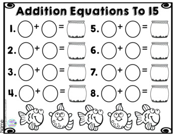 Addition Equations To 15 Fish Bowls