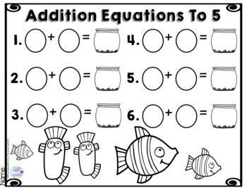 Addition Equations To 5 Fish Bowls