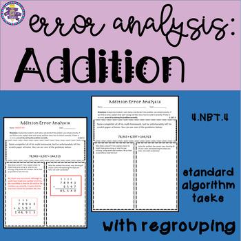 Addition Error Analysis: Standard Algorithm {CCSS 4.NBT.4}