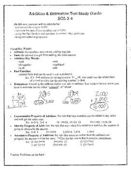 Addition & Estimation Study Guide