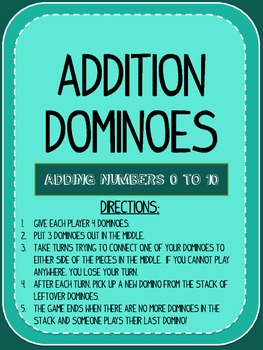Addition Fact 1-10 Dominoes Math Center Game
