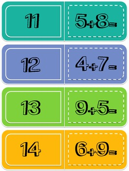 Addition Fact 11-18 Dominoes Math Center Game