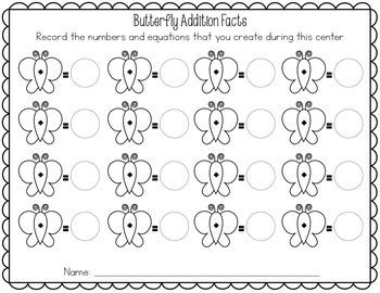 Addition Game - Fact Butterflies