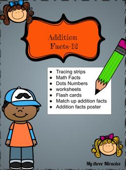 Addition Fact By 12, Match Up, Numbers Handwriting, Copy Work, Math center