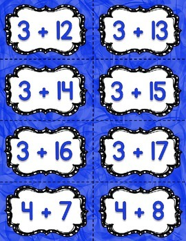 Fact Fluency Practice Cards 0-20 Addition {BLUE} Flash Card