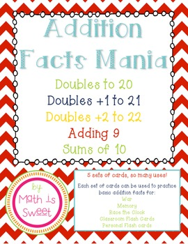 Addition Fact Cards with Worksheets