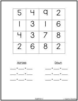 Addition Fact Find Puzzles Freebie