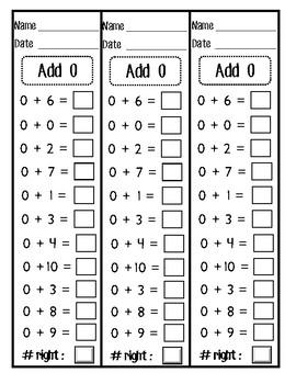 Addition Fact Fluency 0-10