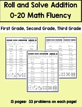 Addition Fact Fluency 0-10 Roll and Solve Math Center