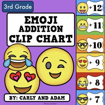 Addition Fact Fluency Clip Chart (Emoji Theme)