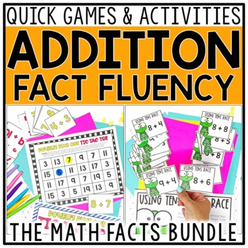 Addition Fact Fluency Games Bundle for Doubles, Make 10, U