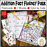 Addition Fact Fluency Pack: Flashcards, 1 Minutes, Color by Code with sums to 10
