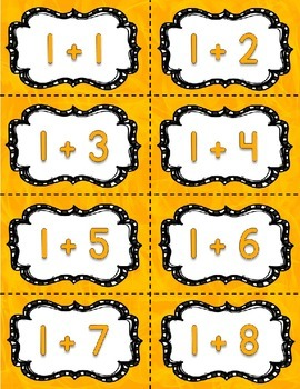 Addition Fact Fluency Practice Cards 0-20 {YELLOW} Flash Card
