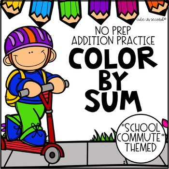 Addition Fact Fluency Practice Color by Sum School Transportation Theme