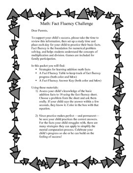 Addition Fact Fluency Practice & Note Home