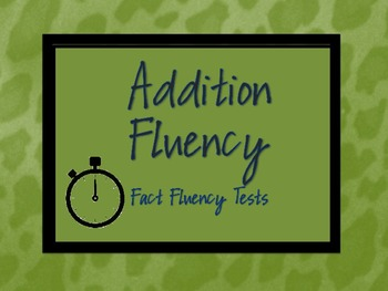 Addition Fact Fluency Practice or Assessments