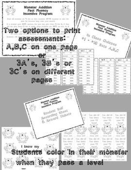 Addition Fact Fluency Program +1 through +10 Monster Theme