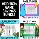 Addition Fact Fluency Race to Win Games Spring BUNDLE