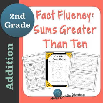 Addition Fact Fluency Sums Greater Than Ten Packet