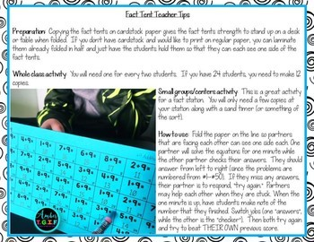 Addition Fact Fluency Tents for Fact Addition Facts Practice