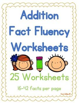 Addition Fact Fluency Worksheet Set