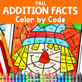 FALL Math Color by Number Worksheets ADD UP TO 20