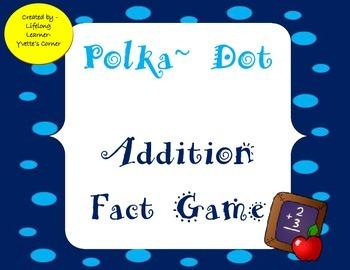 Addition Fact Game (Polka Dot Theme) 1-12