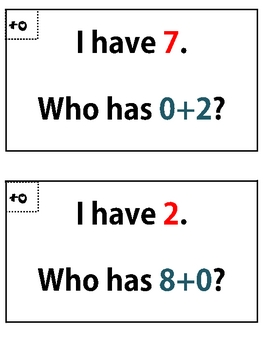 Addition Fact Game...I have, Who has