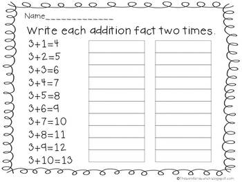 Addition Fact Homework Practice