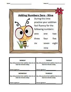 Addition Fact Logs Bees Theme (0-9)