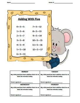 Addition Fact Logs Mouse Theme (0-9)