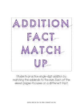 Addition Fact Match Up
