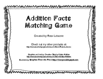 Addition Fact Matching Game- Star Theme