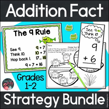 Addition Fact Strategies Bundle of Anchor Charts, Flashcards, Worksheets