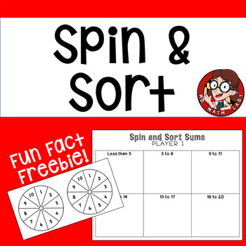 Addition Fact Partner Game: Spin and Sort