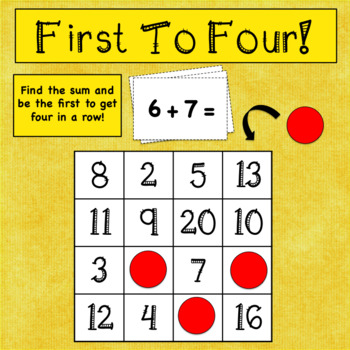 Addition Fact Practice Game: First To Four!