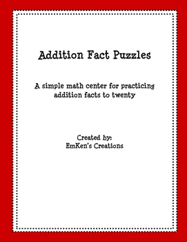 Addition Fact Puzzles Freebie
