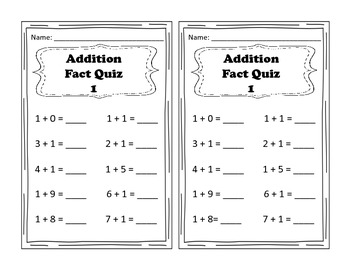 Addition Fact Quizzes 1-10; Doubles