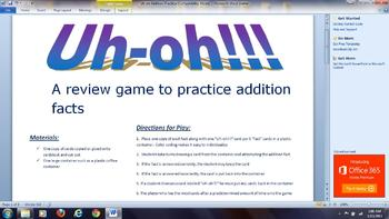 Addition Fact Review Game