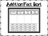 Addition Fact Sort  (doubles, doubles plus one, plus zero,